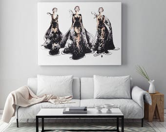 Black art, Fashion poster, Black art poster, Art poster, Black wall art, Black decor, Fashion illustration, Illustration poster, Fashion art
