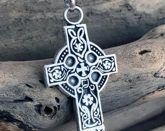 Sterling Silver Celtic Cross Pendant Celtic Cross Necklace Irish Cross Knot Work Pendant Necklace Gothic Spiritual Medieval Necklace CLT055