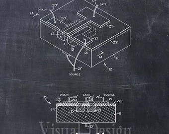 First Integrated Circuit Patent Print - Patent Art Print - Patent Poster - Computer Art - Technology Art