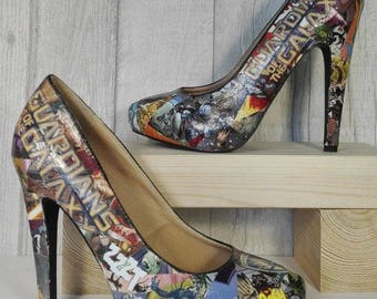 Guardians of the Galaxy Comic Book Shoes, Superhero Heels, Unique and One of a Kind.