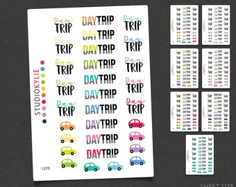 Day Trip Planner Stickers - Repositionable Matte Vinyl to suit all planners