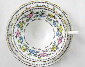 Grosvenor Vintage Tea Cup and Saucer with Pink, Blue, and Yellow Flowers, English Bone China