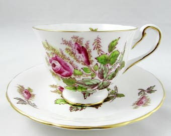 "Royal Chelsea Tea Cup and Saucer ""Moss Rose"" Vintage Bone China"