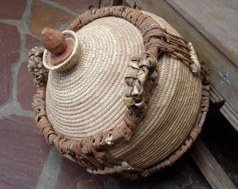 Namibian Milk Container Coiled Basket by Liina Amantundu