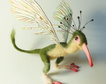 Posable Felted POLLINATOR ALIEN MONSTER Fairy Creature with Butterfly Wings and Anteater Face by Kate Turner