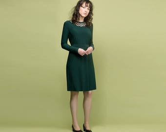 Emerald Green Dress, Dark Green Dress, Modest Dress, Long Sleeve Dress, Midi Dress, Green Bridesmaid Dress, Spring Dress, Plus Size Dress