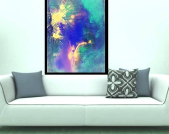 Fierworks -original abstract art acrylic painting contemporary Giclee print modern blue yellow painting modern wall art fine canvas wall art