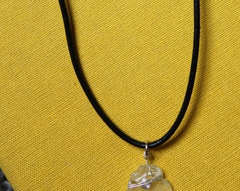 Necklace | seaglass, glass pendant, silver, leather