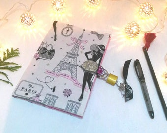 Secret book with lock / Paris diary / artist book / notebook / travel journal / notebook in fabric / teen gift