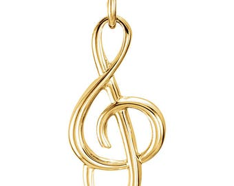Solid 14K Yellow Gold Treble Clef Charm Pendant for Your Own Charm Bracelet or Necklace, 1.00 grams, 20 mm Long