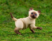 3D printed ball jointed kitten Persian 4 cm, 3 heads, beige color with brown gradient and airbrush