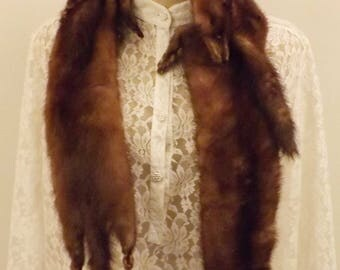 Vintage 60's 4 Pelt Chocolate Mink Fur Stole