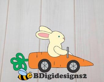 Easter Bunny in Carrot Car Heat Press Transfer