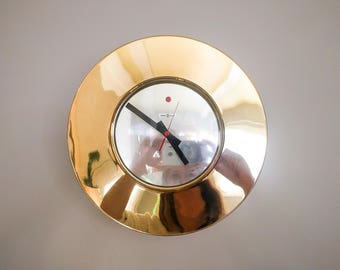 rare vintage howard miller brass and glass modernist wall clock