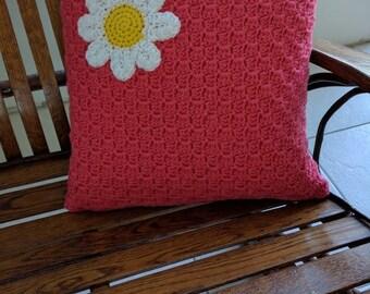 "16"" Daisy Pillowcase in Pink Flamingo"