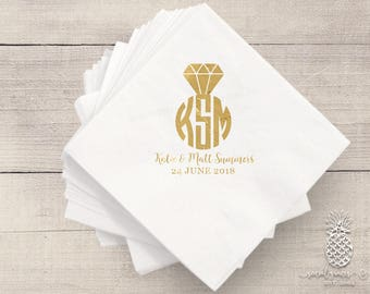 Wedding Ring Napkins | Personalized Napkin | Monogram Napkins | Bridal Napkins | Custom Foil Napkins | Metallic Foil Napkins