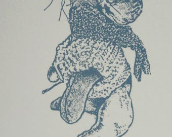 6 x 4 inch screen print original drawing mouse jumper scarf soft sculpture inspired, to frame, send, treasure hand pulled using a silkscreen