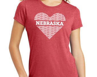 Women's Nebraska Cornhusker GO BIG RED Heart Premium Tri-Blend Scott Frost Tee Shirt Husker Apparel And Game Day Gear