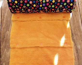 UnPaper Towel, 18 Towels, MultiColor Dot on Black & Orange Microfiber, Convenient Select a Size, Re-Usable Towels, Ready to Ship MarjorieMae