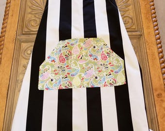 Black & White Stripe Paisley Pocket Work Apron, Adjustable Strap, Full Apron, Kitchen Apron, Full Coverage, Ready to Ship, MarjorieMae
