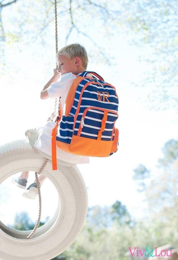 Monogrammed Preschool Backpack Book Bag Back To School Navy Stripe Backpack Boys Backpack Navy Backpack School Supplies Highway12Designs