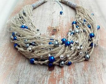 Necklace of threads, blue beads, Jewelery of threads, necklace, natural linen