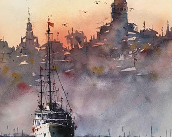 Istanbul Galata Tower original watercolor painting
