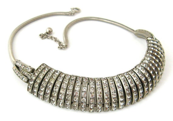 1950s Channel Set Clear Rhinestone Choker Necklace