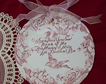 RED TRANSFERWARE, STAFFORDSHIRE Plate, Wall Hangings, China England, Vintage Collectibles