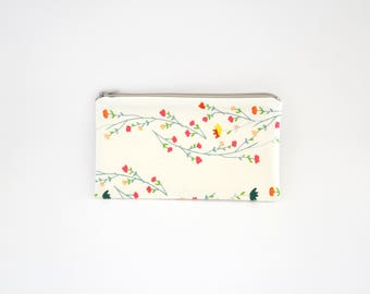 Small Zipper Pouch, Zipper Bag, Makeup Pouch, Cosmetic Pouch, Coin Purse, Bag Storage Organiser - Floral Vines