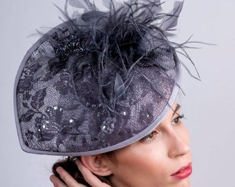 Gray Derby headpiece, Royal ascot Fascinator, Ascot headpiece, Wedding hat, Church hat, Couture lace Hat, Melbourne cup fascinator, lace hat