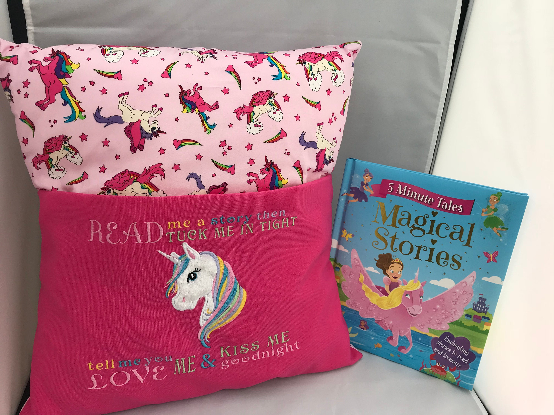 children s unicorn pink book cushionstory book cushion