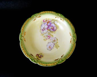 Antique Serving Bowl Victorian Pansies Green Gold Purple Shabby Chic
