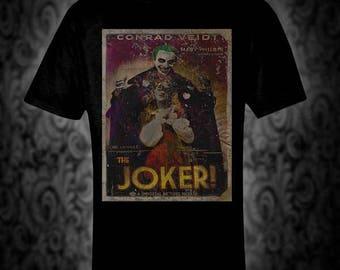 Joker! Vintage style movie poster T-shirt -  retro scifi suicide squad  harley quinn batman christmas birthday valentine DC