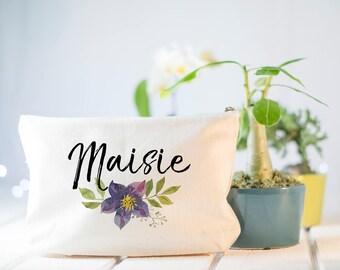 Bridesmaid Makeup Bag, Make Up Bag, Bridesmaids Gifts, Monogram Cosmetic Bag, Floral Makeup Bag, Wildflowers, Will You Be My Bridesmaid Bag