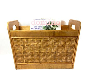 Wicker and Wood Magazine Rack Holder Vintage Classic Mid Century Style Tote With Handles Boho Storage Organization Decor
