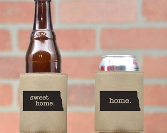 Custom Leather Beer Kozie. Choose Your State & City. Leather Can Cozy. Beverage Cooler. Wedding Favors. Personalized Gifts