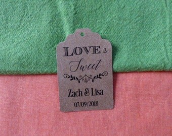 KRAFT,Love is Sweet Tag, Personalized Wedding Tag, Kraft Tags, Wedding Favor Tag, Favor Tag. Set of 25 to 300 pieces