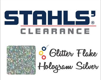 "1 1/2""  273 Yards Stahls' Glitter Flake - Craft Roll - Iron-On  Heat Transfer Vinyl - HTV - Hologram Silver"