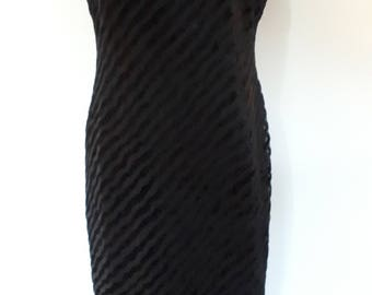 Vintage maxi dress 90s by Debut at Debenhams black dress with devorre velvet stripes size large