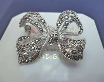 """A stunning sparkly marcasite and silver bow brooch - 925 - sterling silver - Vintage - 1.4"""" x 1.25"""""""