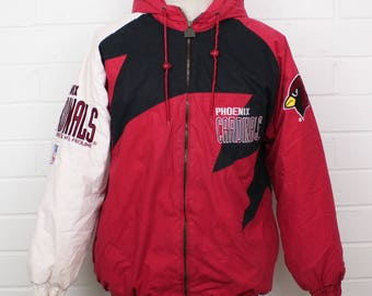 Vintage 1990s Phoenix Cardinals NFL Pro Line Football Team Shark Tooth Logo Athletic Authentic Size Medium Puffer Hooded Zip Up Jacket