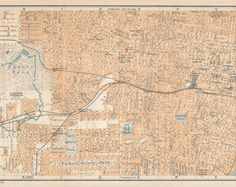 1909 St. Louis Missouri Antique Map