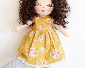 Art doll, rag doll, dark brown hair doll, fabric doll, curly hair doll, birthday gift, girls gift, textile doll, dolls, Christmas gift