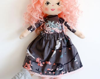 Pink curly hair doll cloth doll rag doll textile doll grey outfit curly hair