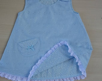 Pale Blue Reversible Girl's Dress in 5 sizes, A Line. Broderie Anglaise on one side and Pale Blue and white flowers in reverse