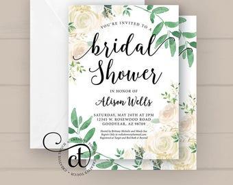 Bridal Shower Invitation, Bridal Shower Invite, Miss to Mrs. Wedding Shower Invite, White Roses Gold Glitter Green Botanical Greenery floral
