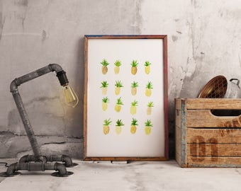 Pineapples - A4/A5 PRINT of watercolour illustration
