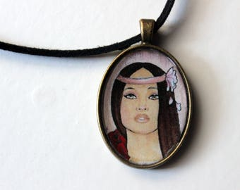Necklace, illustrated pendant, woman's gift, gift to her, necklace, cabochon , pendant, collar ilustrado, camafeo, camafeo con ilustracion