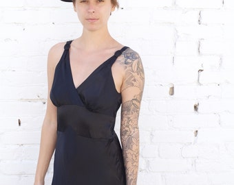 100% Silk Little black Dress With Lace Detailing